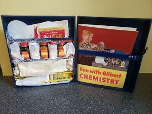 Vintage 1950's No. 2 Gilbert Fun with Chemistry Set Jars, Tools NOS?