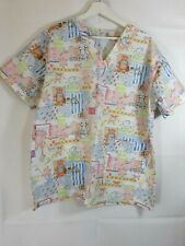 Medline Women's Size Large Scrub top V-Neck Graphic teddy bears and bunny