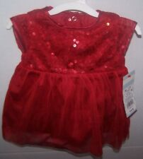 Cat & Jack NB Newborn Red Sequin Dress Holiday Christmas Baby Girl