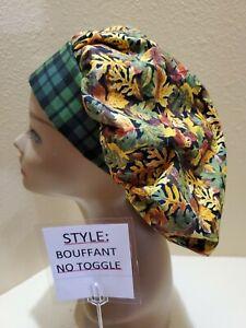 Fall Leaves Galore Women's Bouffant Surgical Scrub Hat/Cap Handmade