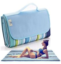 Fashionlive Extra Large Blue Striped Waterproof Beach/Picnic Blanket