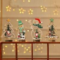 Christmas Decor Wooden Ornament Santa Claus Snowman Xmas Tree Hanging Table Gift