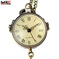 Retro Vintage Bronze Ball Glass Quartz Pocket Watch Necklace Chain Steampunk New