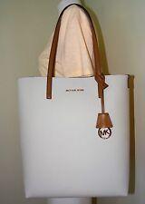 Michael Kors Hayley Large North South PVC Vanilla Acorn Leather Tote Bag