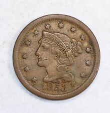 1853 Braided Hair Large Cent VERY FINE 1-Cent