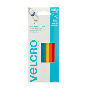 VELCRO One-Wrap Cable Ties, Assorted Colors, 5 Ties
