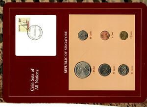 Coin Sets of All Nations Singapore 1981-1988 UNC $1 1981 10,20,50 cents 1987