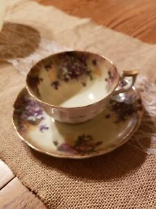 Tea cup and saucer 2 Pieces set Purple Violets Unmarked, Gold Trim