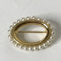 """Napier Brooch Faux Pearl Oval Shaped Approximately 1.25"""""""