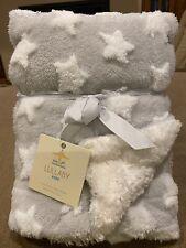 Grey With White Stars Luxury Sherpa Baby Blanket
