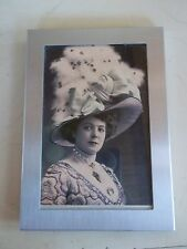 Vintage Black and White Brushed Silver Framed Victorian Woman in Huge Hat
