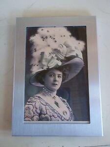 Vintage Black and White Brushed Silver Framed Victorian Woman in Huge Hat