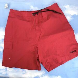 Polo Sport Men's XXL Swim Trunks Vintage 90's Ralph Lauren Spell Out Red Black
