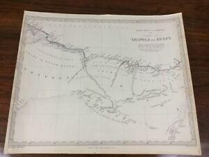 1837 Antique Map of Tripoli Egypt Africa Barbary Chapman Hall Victorian Original