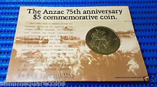 1990 The Anzac 75th Anniversary $5 Commemorative Coin Gallipoli Simpson Donkey