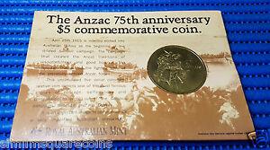 1990 The Anzac 75th Anniversary $5 Commemorative Coin Gallipoli Simpson Donkey