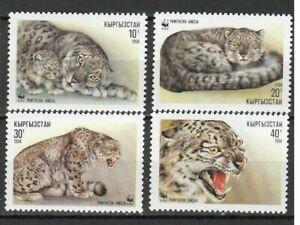 S22094) Kyrgyzstan MNH Wwf Snow Leopard 4v