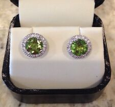 2.0 CT T.W. Peridot and .23 CT TW Diamond 14K White Gold Earrings