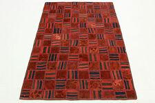 Vintage Patchwork Orient Teppich mit Kelim rot 160x100 Rarität Used Look 2523