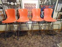 mid century retro Cosco orange shell and chrome barstools swivel