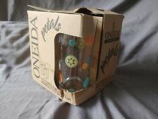 "Estate NIB ONEIDA PETALS Highball Barware 4 Glasses RARE Retro Colors 6"" Tall A"