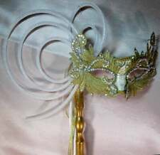 "HANDMADE ""ONE OF A KIND"" GOLD ORIGINAL MASQUERADE  MARDI GRAS WITH HANDLE"