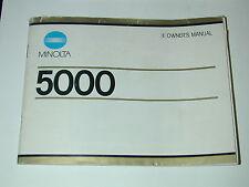 NOTICE MINOLTA 5000 en anglais photo photographie 52 pages