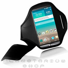 BLACK SPORTS ARMBAND POUCH CASE FOR LG G3 D855 BY GYM RUNNING JOGGING NEOPRENE