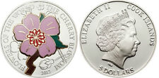 2012 Cook Is. Large Color Silver $5 Cherry Blossom flower