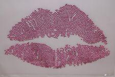 Pink Lips Rhinestone Iron on Hotfix