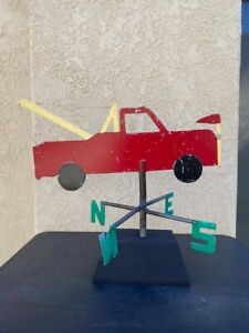Folk Art Weather Vane Advertising Towing Service c.1950-60's on stand, signed