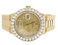 Mens Rolex President 18K Yellow Gold Day-Date 36MM 18038 Diamond Watch 5.0 Ct
