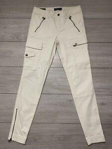 POLO RALPH LAUREN Women's Zip Ankle Slim Cargo Utility Trouser Jeans   W28 L29