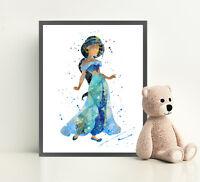 JASMINE Watercolor Art Print Wall Art Framed Poster Canvas Framed Aladdin Disney