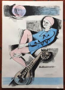 Alberto Bolzonella litografia colorata a mano Figura  50x35 firmata