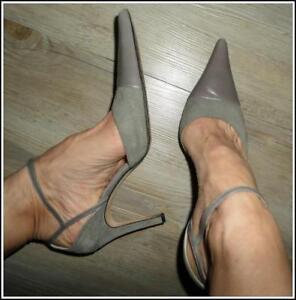 $285 ANNE KLEIN designer HEELS 8.5 pale grey suede leather POINTY SEXY STRAP VGC