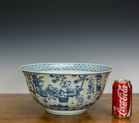Rare Massive Important Chinese Blue and White 100 Boy Playing Porcelain Bowl 13""