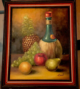 Vintage Still Life Painting On Canvas Signed Drant