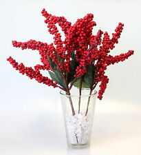 4x 40cm Christmas Red Berry Holly Branch Artificial Flower Pick Wreath I
