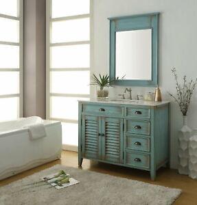 "42"" Benton Collection Distress Blue Abbeville Bathroom Sink Vanity CF78888BU-MIR"