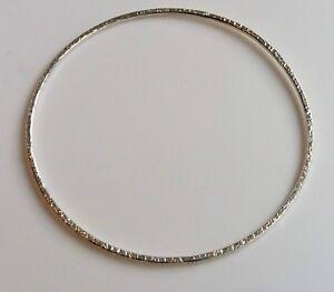 Handmade Solid 925 Sterling Silver Bangle Hammered Texture - 5.5cm 6cm 6.5cm 7cm