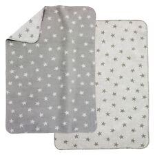 Alvi Baumwolldecke Kuscheldecke Babydecke Schmusedecke 75x100 Sterne grau