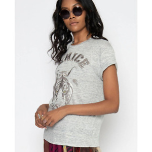 New Anthropologie Venice Linen Embroidered Tee $145 MEDIUM Gray