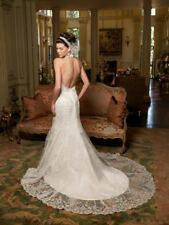CASABLANCA $1499 10 WHITE LACE V-NECK HALTER MERMAID TRUMPET WEDDING DRESS NEW