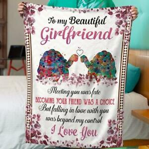 To My Beautiful Girlfriend Meeting You Was Fate Floral Valentine Gift Blanket