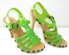 MICHAEL KORS Women's Strappy Back Studded Platform Heels 7B Medium LIME GREEN
