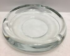 "Round Clear Cigar Ashtray Vintage 7 1/4"" Very Heavy"