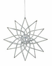 3 x Silver Glitter wire Star Christmas hanging Tree Decoration CLEARANCE PRICE