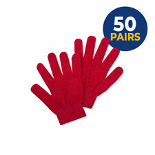 50 Pairs Wholesale Unisex Red Knitted Gloves Touch Screen Compatible Joblot