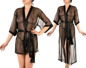 Made in Europe Sexy Women Kimono Gown Sheer Robe Tulle Lingerie S M L XL XXL